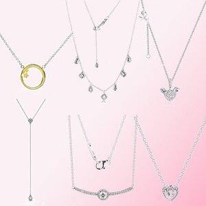Image 1 - 100% 925 пробы, Серебряное блестящее ожерелье со звездой, Висячие геометрические формы, ожерелье в форме сердца, крылья ангела, цепочка для ключицы