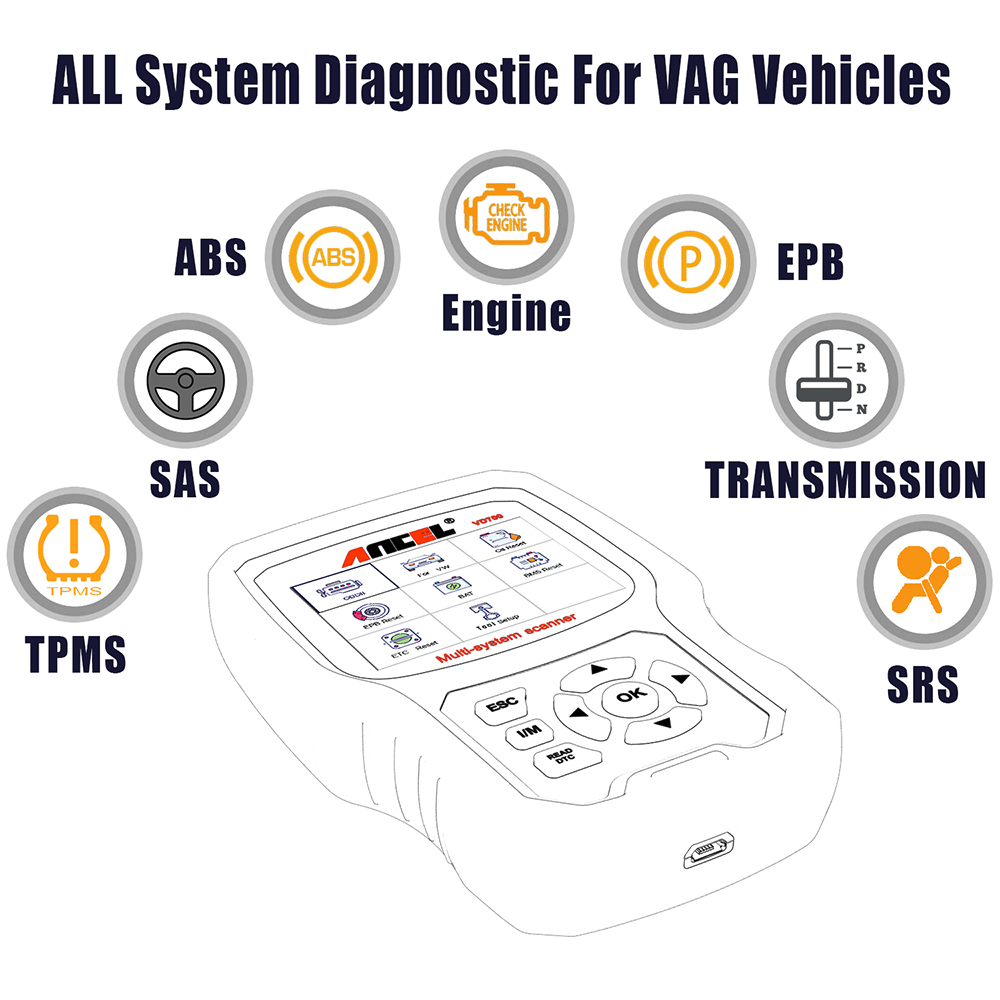 Image 2 - ANCEL VD700 Car Diagnostics OBD2 for VW Audi Skoda Seat VAG Automotive Scanner ABS SRS Oil EPB DPF TPMS Reset OBD2 Auto Scanner-in Air Bag Scan Tools & Simulators from Automobiles & Motorcycles on