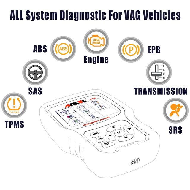 ANCEL VD700 Car Diagnostics OBD2 for VW Audi Skoda Seat VAG Automotive Scanner ABS SRS Oil EPB DPF TPMS Reset OBD2 Auto Scanner