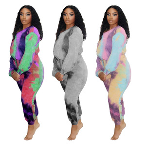 Tie Dye Print Ruched Drawstring Pullover Tops and Sporty Jogger Sweatpant Sweet Women Matching Outfits Autumn Fashion Streetwear