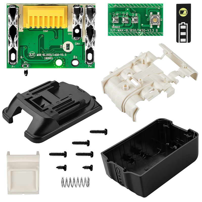 Replacement For Makita 18V BL1850 BL1830 Battery Case Kit With PCB Circuit Board LED Indicator Power Tools Battery Case(No Cell)