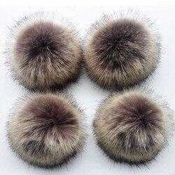 2 pçs/lote anti compressa de pele de poliéster artificial pom pom para gorros bonés chapéus 12cm bola de pele do falso para sacos chaveiro acessórios