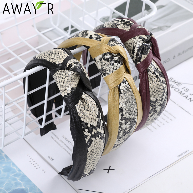 AWAYTR Fashion Leather Snake Pattern Headband Kontted Wide Hair Accessories For Women Hair Hoop Solid Color Hairband Hair Bands