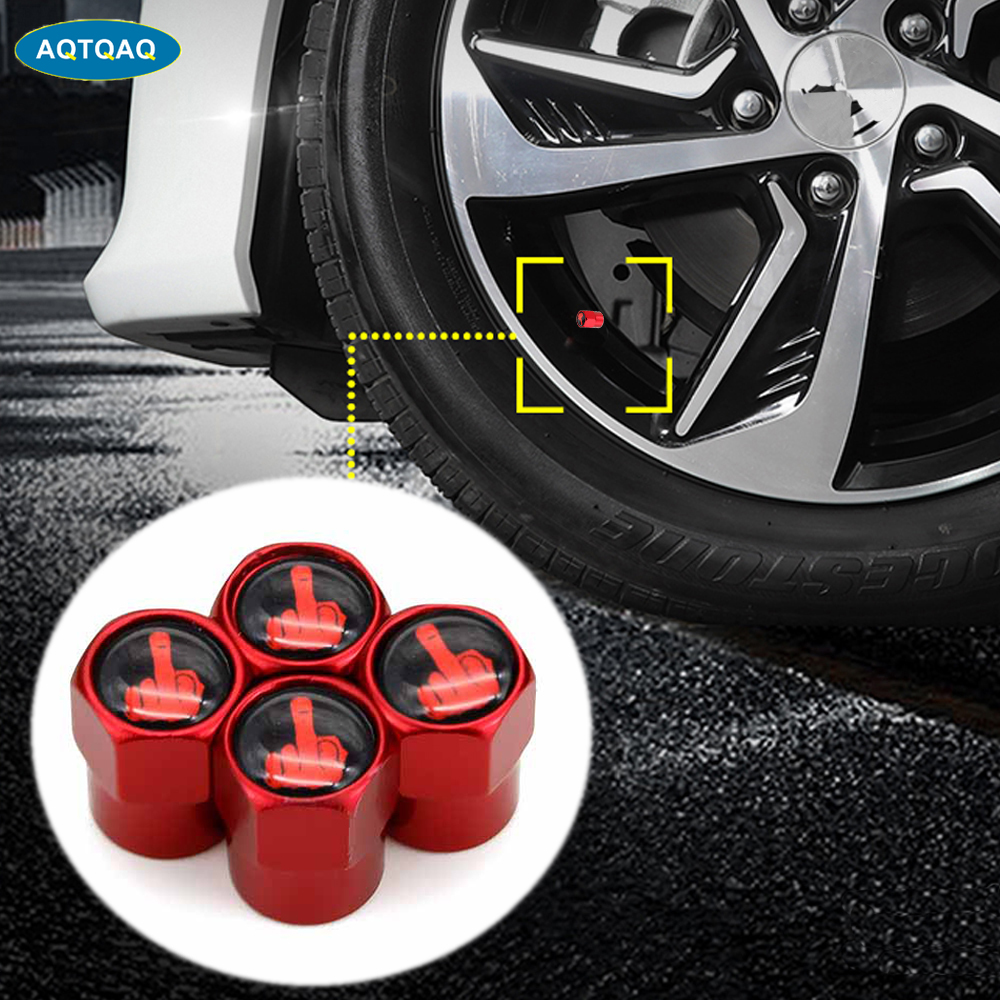 4Pcs/Set Red Anodized Tire Valve Stem Caps Aluminium Middle Finger Individuality Stem Dust Covers For Car Tires Decorative Caps