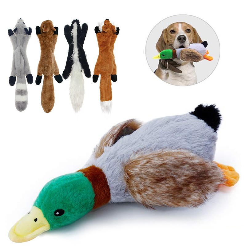 Plush Dog Chew Toys Pet Puppy Cleaning Teeth Toy Wolf Toys Stuffed Squeaky Animals Rabbit Honking Training Squirrel Pet Supplies