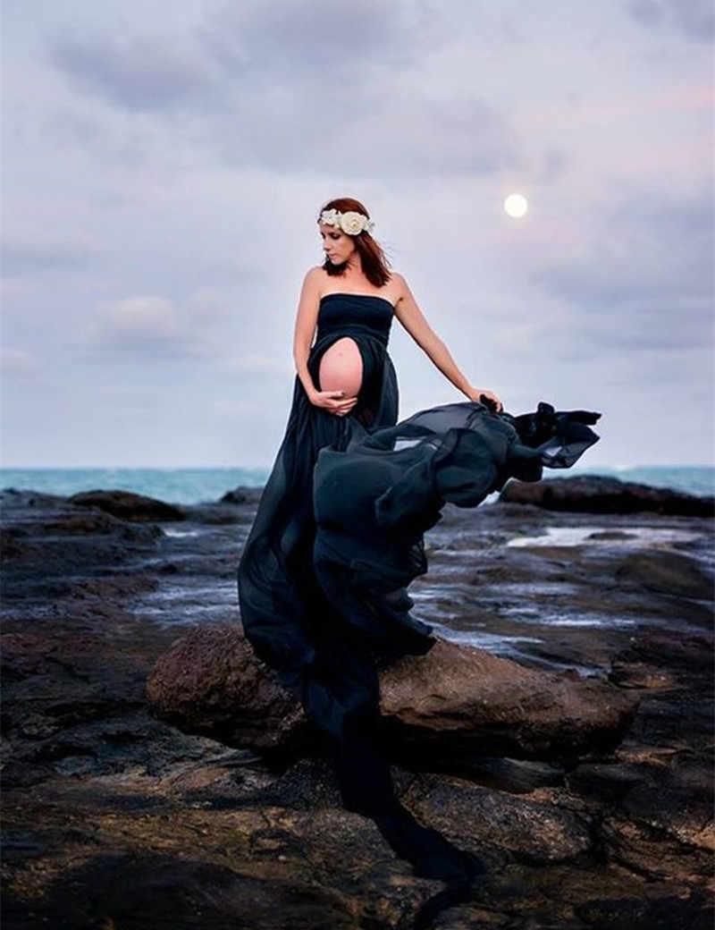 Sukienki ciążowe fotografia ciążowa rekwizyty odzież dla ciężarnych kobiet bez ramiączek ogonowa sukienka ciążowa na sesja zdjęciowa