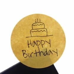 100pcs/pack Handwritten Happy Birthday Cake Cowhide Round Sealer DIY Gifts Posted Baking Multifunction Sealing Stickers