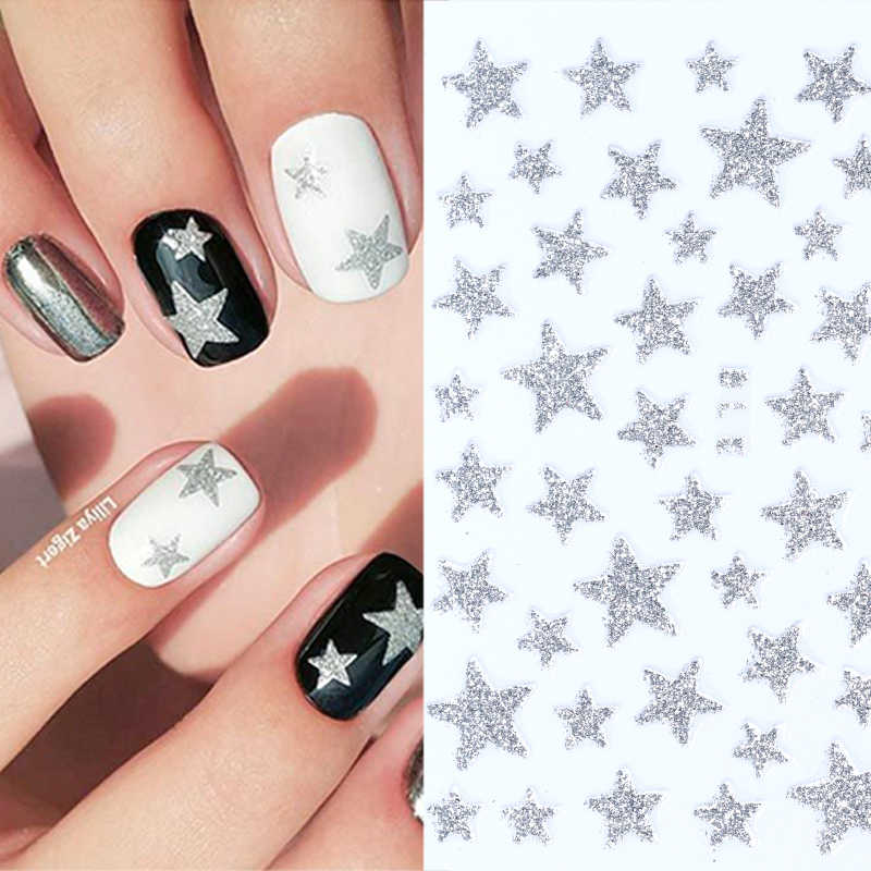 Nail Stickers 3D Nail Slider Stars Decals Glitter Shiny Decoration DIY Transfer Adhesive Colorful Nail Art Tool Manicures