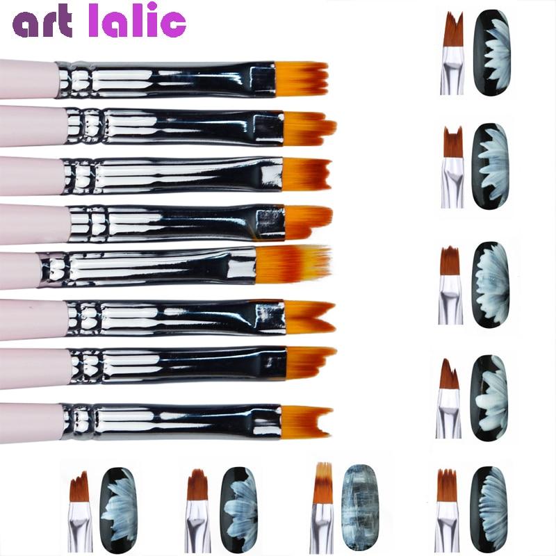 8pcs/lot Smile Moon Shaped Acrylic French Nail Art Brush Set UV Gel Polish Gradient Color Tips 3D DIY Painting Drawing Liner Pen