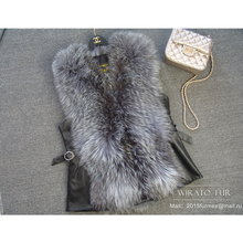 2015NEW hot silver fox fur vest real fur