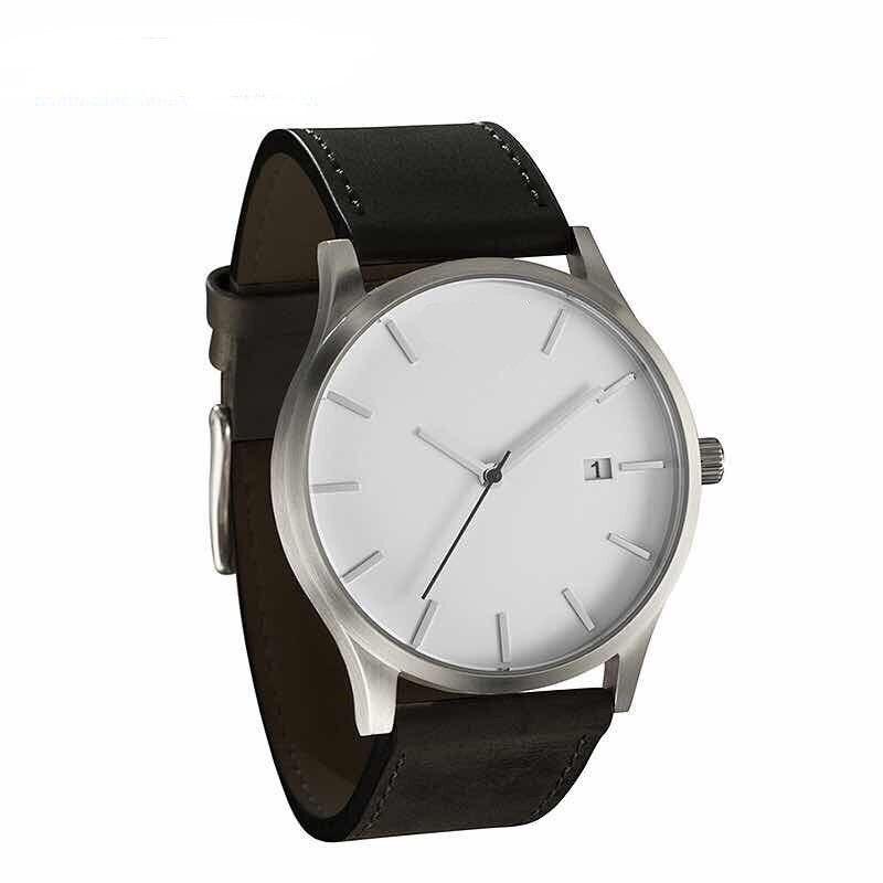 Мужские часы, модные часы для мужчин,, Топ бренд, роскошные часы, мужские спортивные часы, кожа, на каждый день, reloj hombre erkek kol saati - Цвет: black white