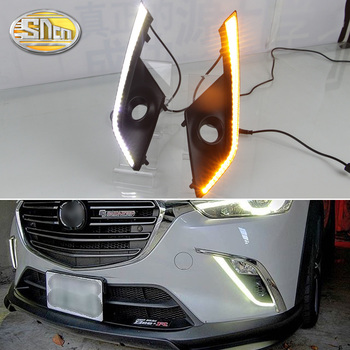 цены For Mazda CX-3 CX3 2016 2017 Daytime Running Light LED DRL fog lamp Driving lights Yellow Turn Signal Lamp