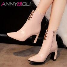 купить ANNYMOLI Winter Ankle Boots Women Natural Genuine Leather Cutout Block High Heel Short Boots Zip Square Toe Shoes Female Fall 39 дешево