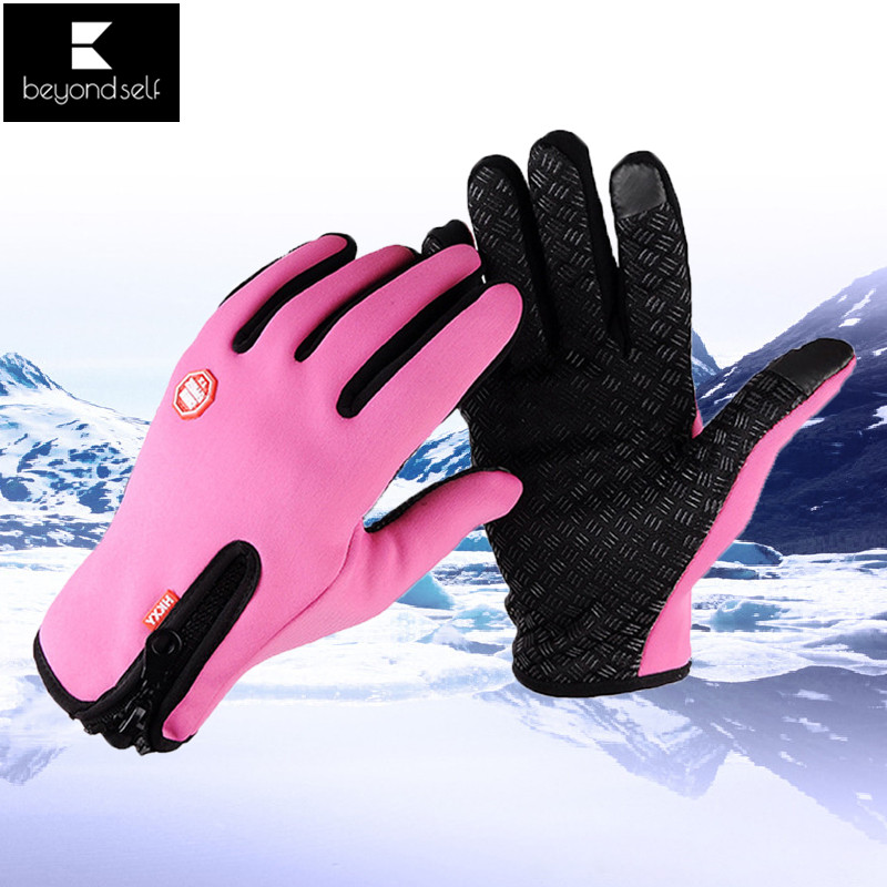 Men Women Winter Gloves Cycling Touch Screen Outdoor Waterproof Windproof Warm Zipper Non-slip Wear Resistant Ski Gloves 1 Pair