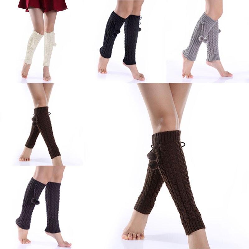 1pair Women Ladies Leg Warmers Winter Warm Foot Fashion Knitted Boots Socks Crochet Baggy Knit Toppers Boot Sock Cuffs JS25