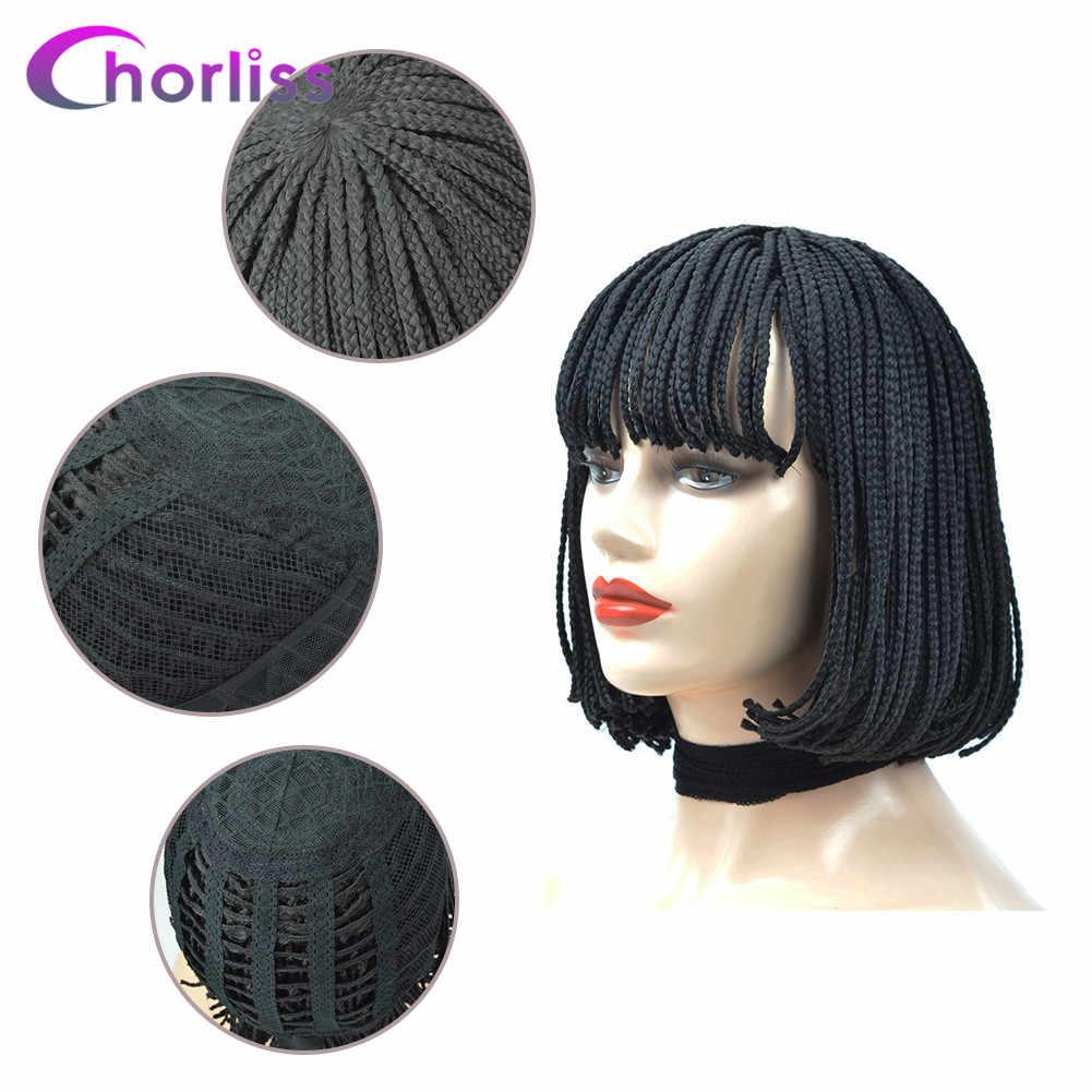 Короткие натуральные черные женские синтетические парики, плетеные косички, парики с челкой, бахрома, Chorliss, термостойкие черные парики для косплея