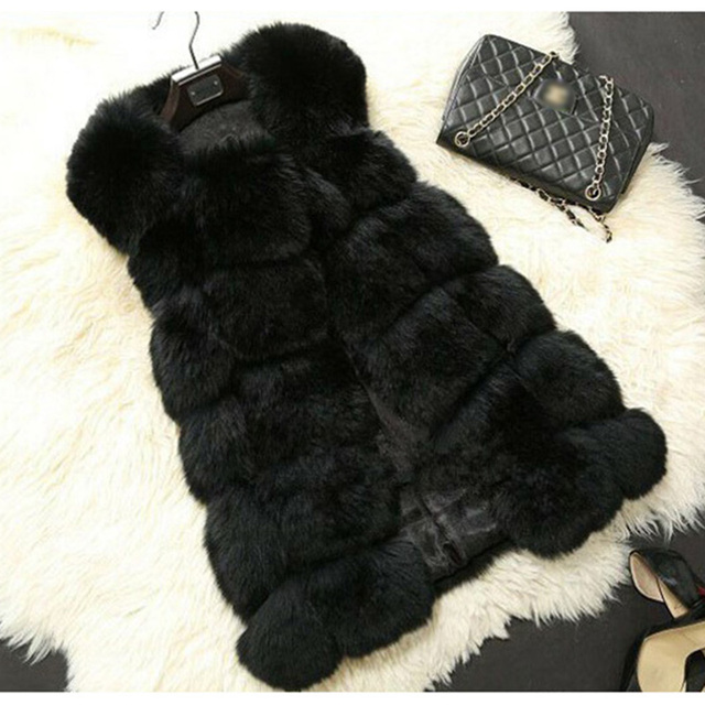 LEDEDAZ Fashion Long Ladies Imported Faux Fox Fur Vest Top 2019 Plus Size Women Faux Fur Coat Warm Winter Fake Fur Jacket Coat