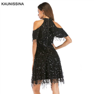 Image 4 - KAUNISSINA Taseel Party Dress Sequins Cocktail Dress Sexy Halter Neck Cold Collar Short Homecoming Robe Celebrity Gown