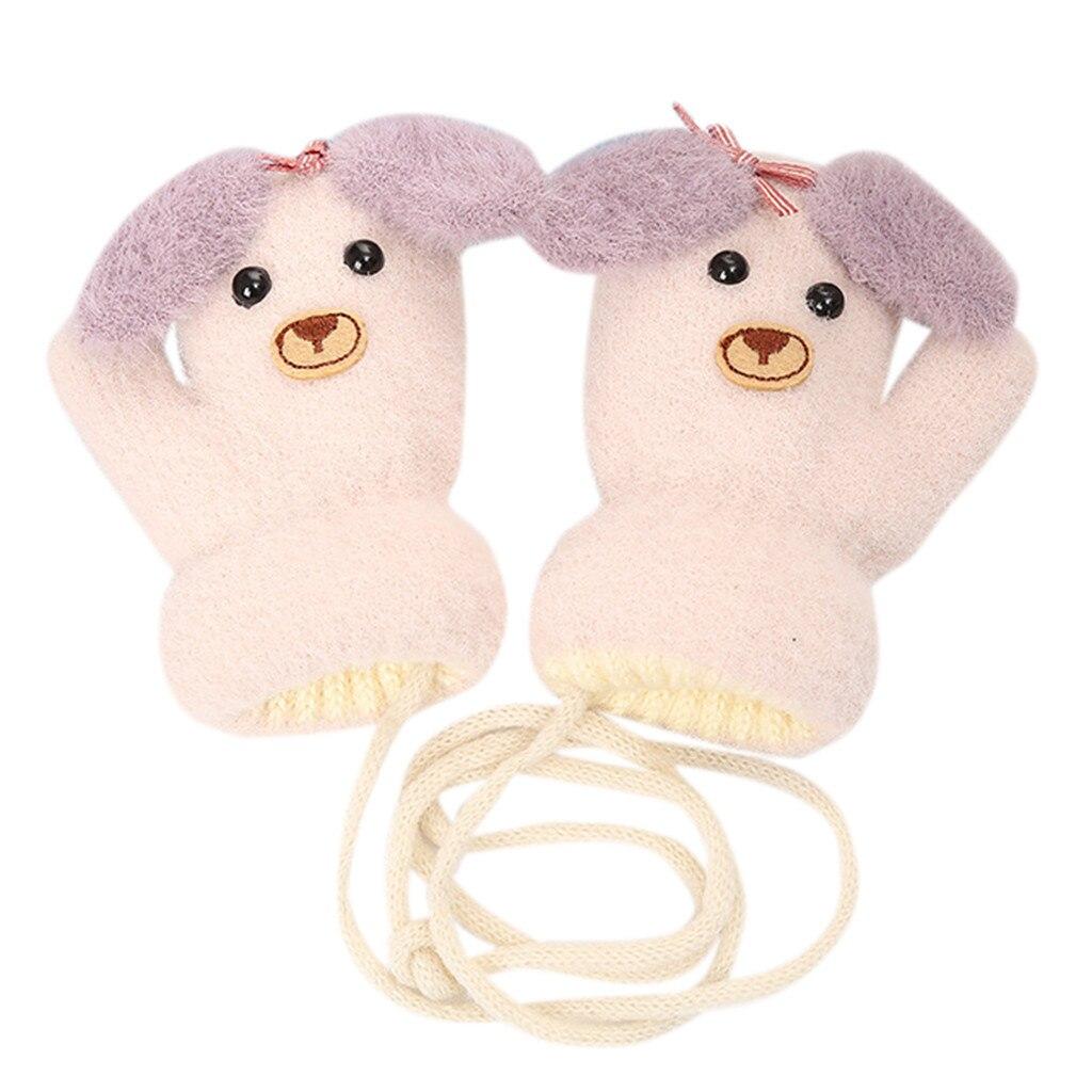Детские теплые трикотажные зимние перчатки с милыми мультяшными животными для мальчиков и девочек, милые Мультяшные перчатки для детей, теплые зимние перчатки - Цвет: Темно-серый