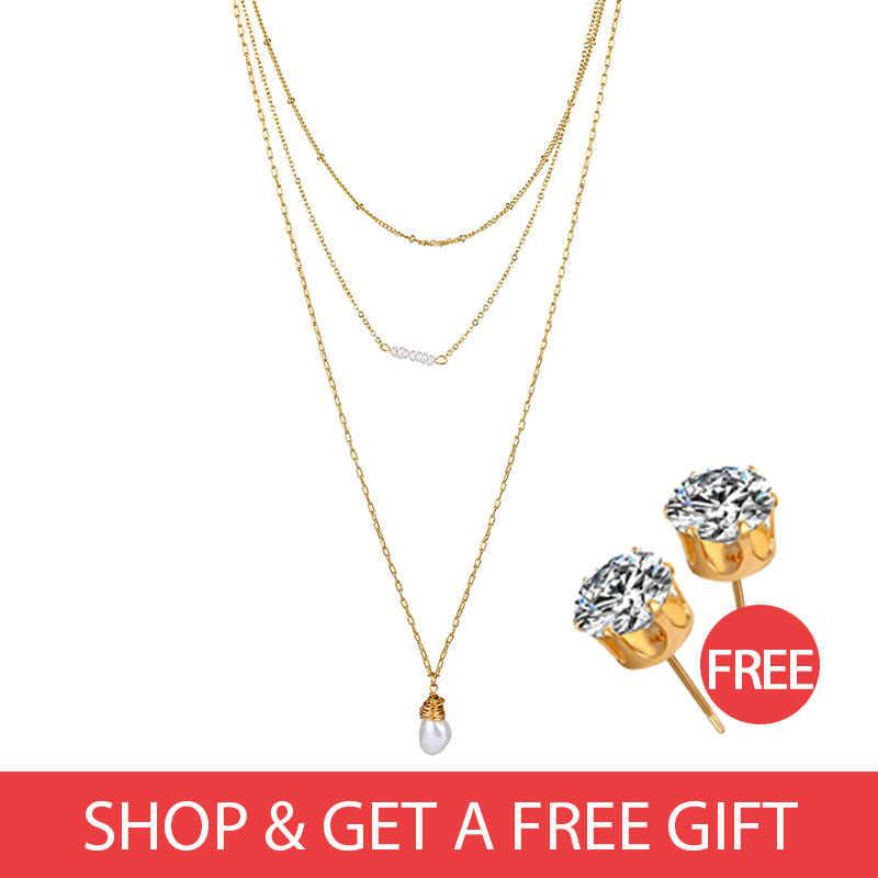 Satın 1 olsun 1 doğal gerçek inci kolye kolye kadın çok katmanlı kolye kadın kolye Vintage altın kolye BOHEMIA hediye