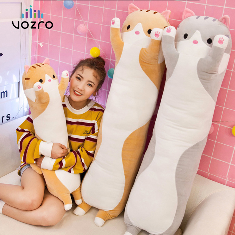 VOZRO 90 Cm Gato Bonito Longo Sono de Pelúcia Para Enviar As Crianças até o Joelho Travesseiro Almofada Coussin Overwatch Cojines Almofada Emoji Decorativos