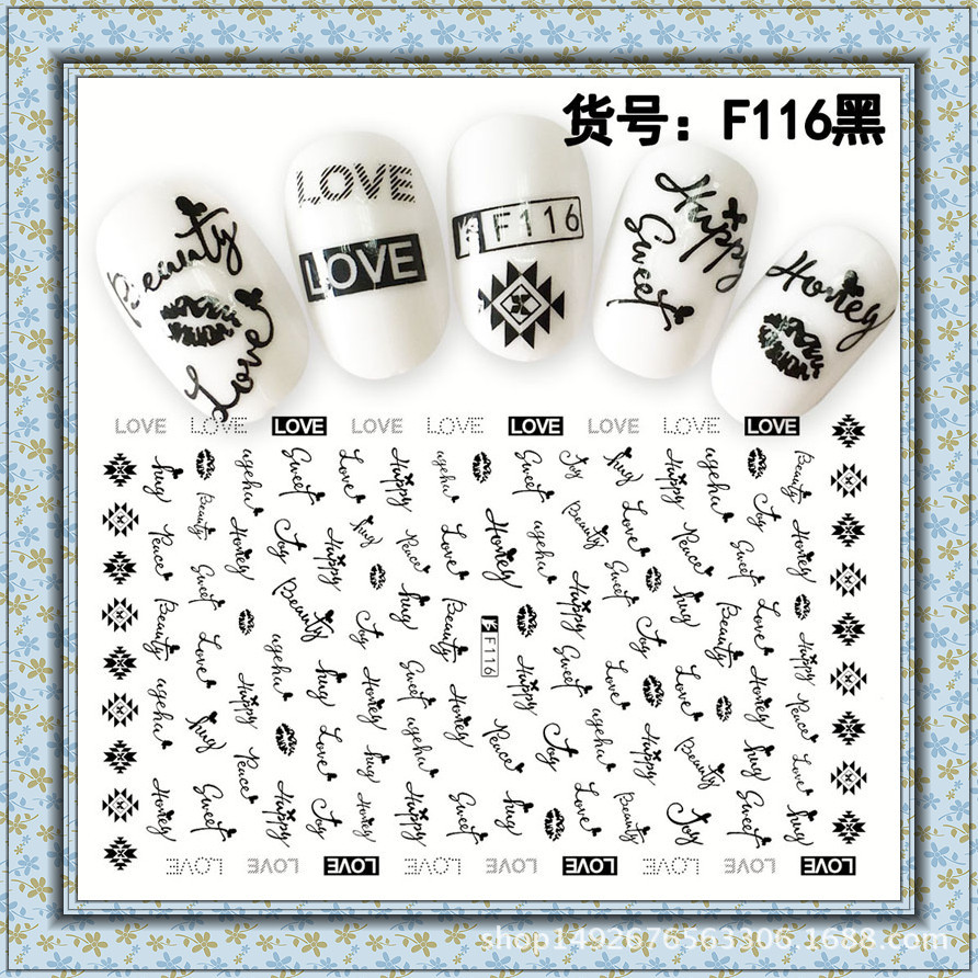 Foreign Trade 3D Japan New Style Ant Lettered Pregnant Women Children Environmentally Friendly Nail Sticker Nail Decals F109-116