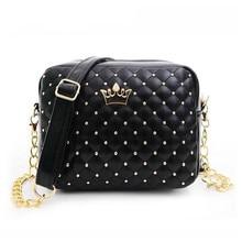 FOXER 2019 Women Bag Fashion Women Messenger Bags Rivet Chain Shoulder Bag High Quality PU Leather Crossbody Quiled Crown bags цена