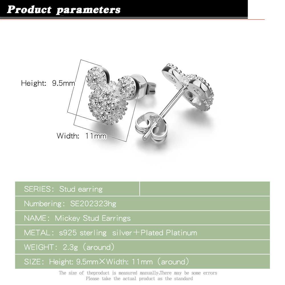 ขายส่งร้อนขาย 100% 925 เงินสเตอร์ลิงพราว CZ มิกกี้เมาส์ Push-Back ต่างหูผู้หญิงหญิง серьги เครื่องประดับ