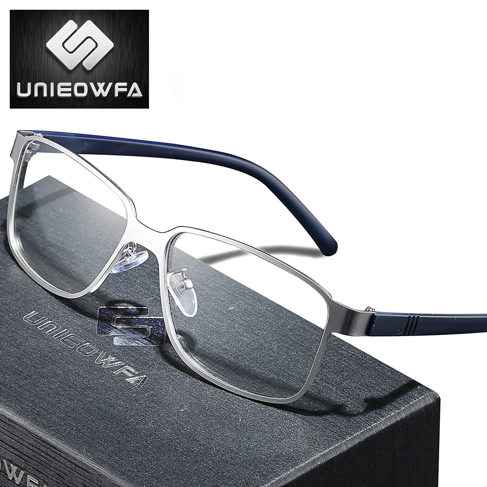 UNIEOWFA Myopia Prescription Glasses For Men Blue Light Blocking Photochromic Eyewear Optical Progressive Eyeglasses Korea TR90