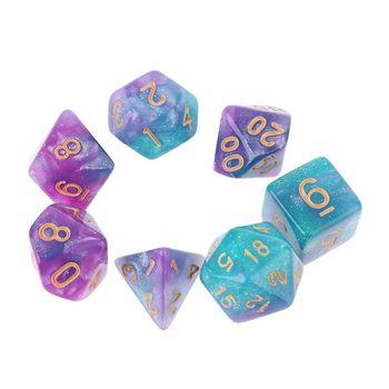 7 sztuk zestaw dichromatyczny D4 D6 D8 D10 D12 D20 wielościennych kości numery tarcze pulpit płyta stołu gry tanie i dobre opinie OOTDTY CN (pochodzenie) H4GF5AC502052-4 Picie dice