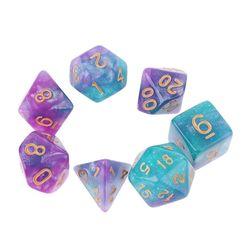 7 шт./компл., Dichromatic D4 D6 D8 D10 D12 D20, многогранные циферблаты, настольные игры