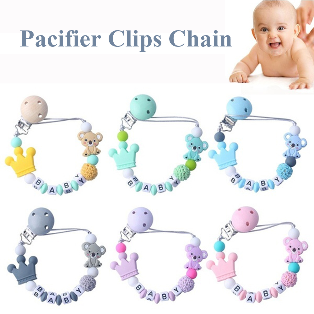 DIY Silicone Baby Pacifier Clips Funny Pacifier Chain With Mouse Holder Baby BPA Free Baby Teething Soother Chew Toy Dummy Clip