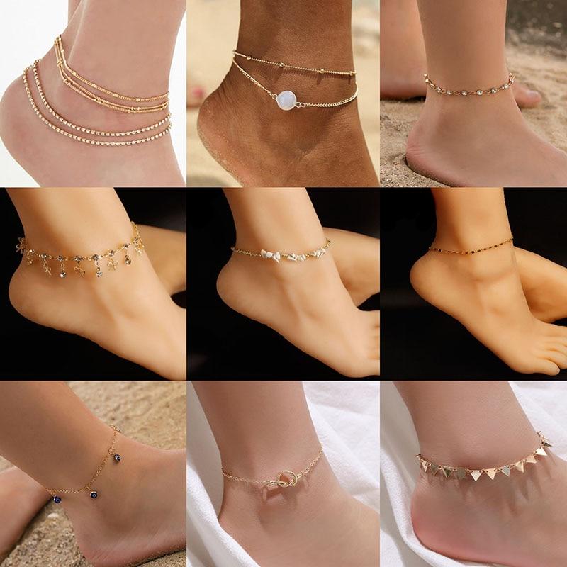 Luokey Vintage Beach Pearl Foot Anklet For Women Evil Eye Triangle Beads Bohemian Anklet Bracelet Leg Anklet Jewellery Gift 2020