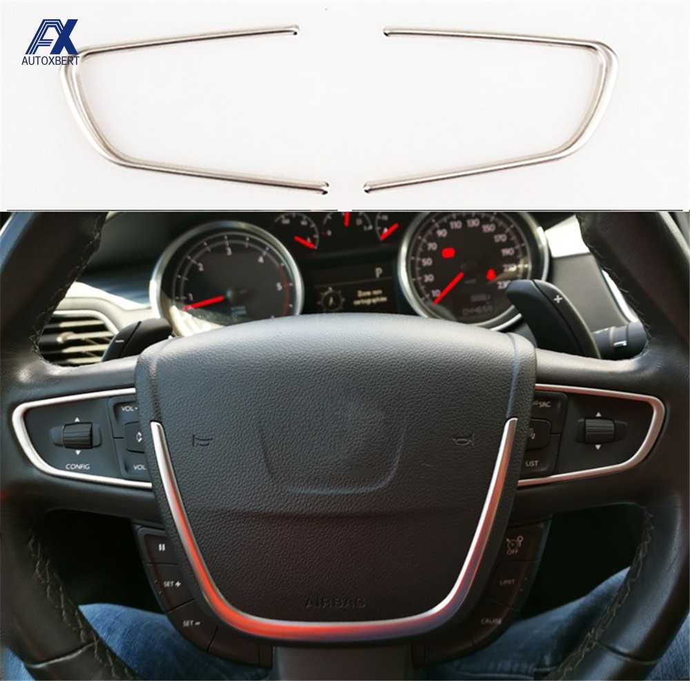 2PCS Steering Wheel Trim Cover For 508 2011-2016 Chrome Center Console Interior Decoration Styling Stainless Steel Bezel Sticker