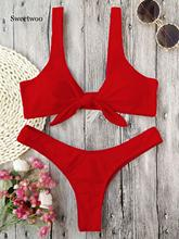 New Bikini Knotted Padded Thong Bikini Set Women Swimwear Swimsuit Scoop Neck Solid High Cut Bathing Suit Brazilian Biquni zaful bikini new padded spaghetti straps bikini set cami string bralette bathing suit swimwear brazilian swimsuit women biquni