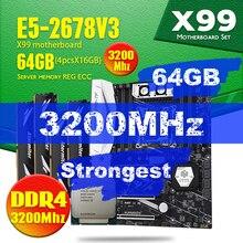 Huananzhi x99 tf placa mãe conjunto com ddr4 e ddr3 LGA2011 3 e lga 2011 xeon e5 2678 v3 64gb = 16gb * 4 3200mhz memória ram