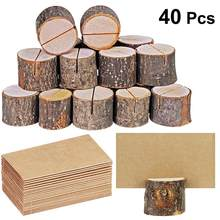 40pcs Wooden Name Place Card Photo Holders Practical Bark Memo Holder Stump Shape Menu Number Memo Stand Party Table Decor(China)