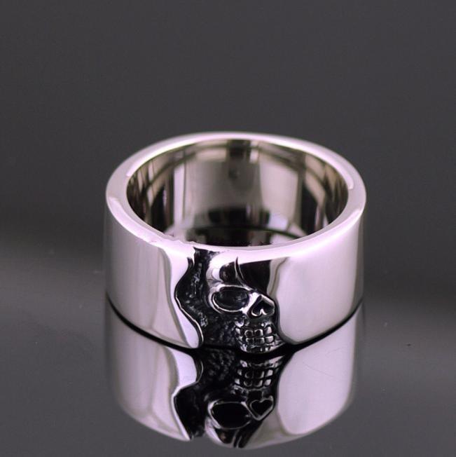 Breve placa esqueleto anillo calavera hombres thai anillo de plata