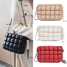 Messenger-Bags Pearl New-Chains Women Clothing Winter Fashion Cotton Ladies Flap