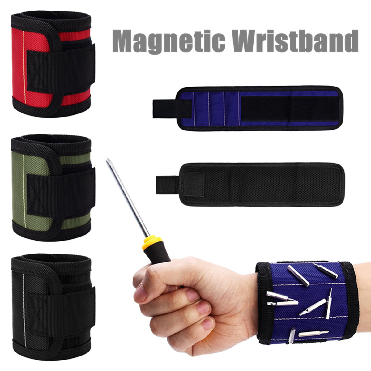 Magnetic Wristband Portable Tool Bag Electrician Wrist Tool Belt Screws Nails Drill Bits Bracelet Repair Tool Holder Organizers