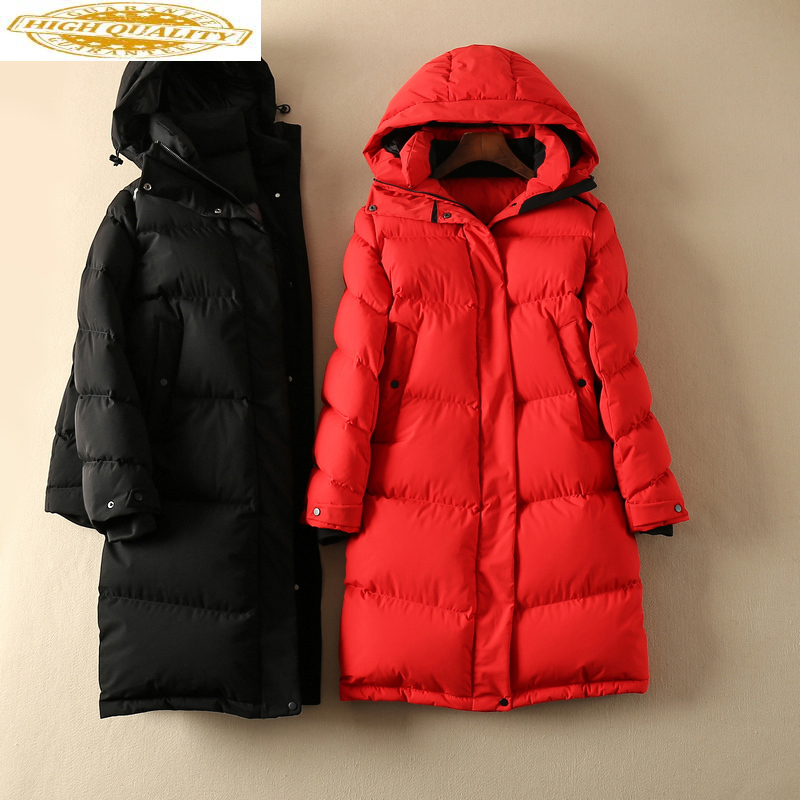 90% White Goose Down Jacket Women Hooded Long Winter Coat Women Warm Puffer Jacket Korean Womens Coats 2020 KJ3597