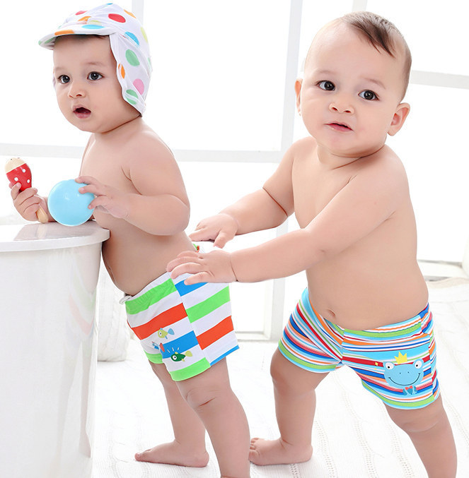 BOY'S Swimming Trunks Small Children Baby Infants Students Cute Cartoon Multi-color Stripe Fish Boy Boxer Swimming