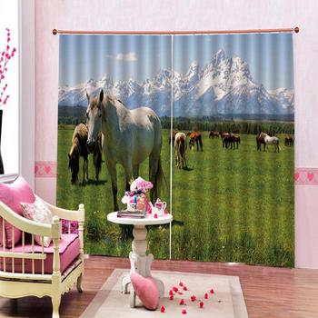 Custom curtains Scenery Prairie snow mountain horse Photo Printing Blackout 3D Curtains for Living Room Bedding Room Hotel
