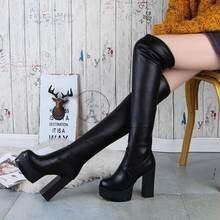 Новинка стильные женские сапоги до колена на толстом каблуке