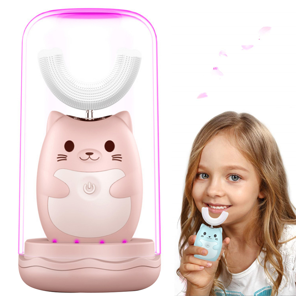 Children Toothbrush Sonic Toddlers Electric For Sensitive Teeth Cartoon Led U Type Hygiene Kids Waterproof Oral Cleaning UV image