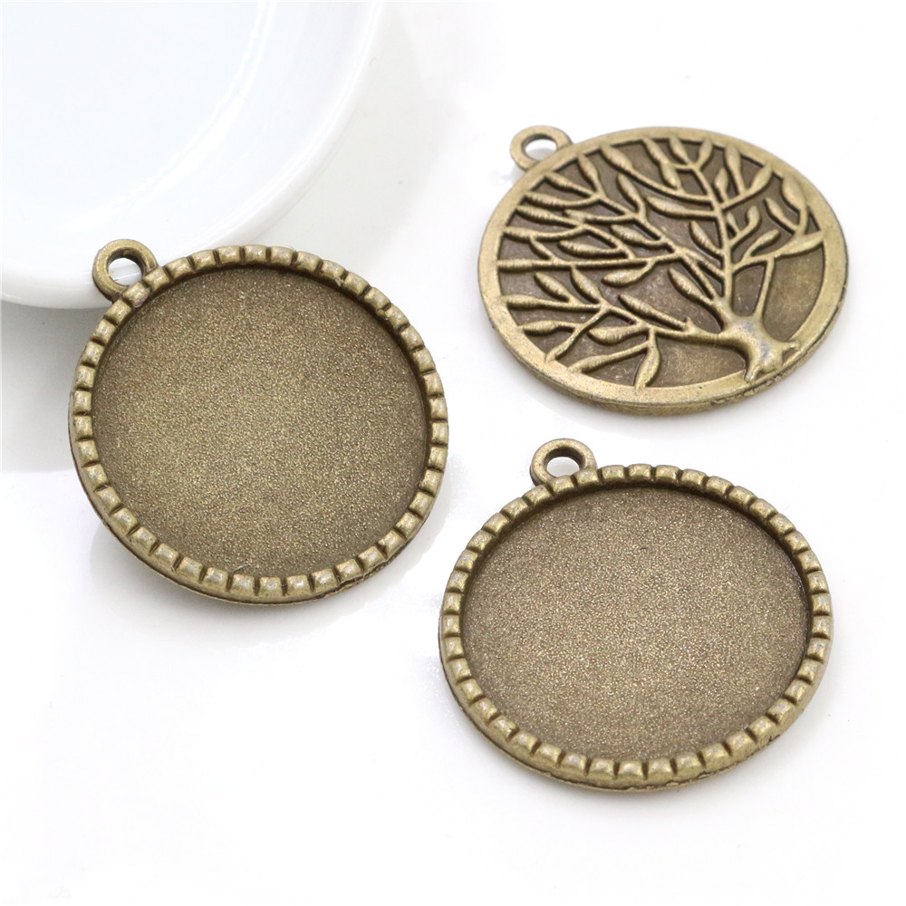 New Fashion 5pcs 25mm Inner Size Antique Bronze Tree Cabochon Base Setting Charms Pendant (A4-01)
