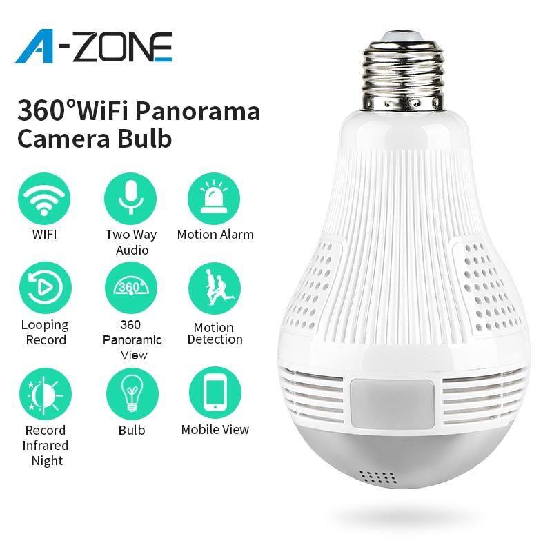 A-ZONE HD 1080P Home Security IP Wifi Camera 360 Panoramic Bulb Wireless 2.0MP CCTV Surveillance Video Mini E27 Lamp Camera