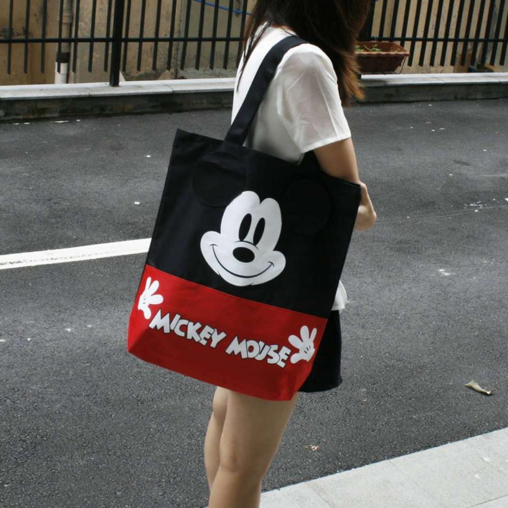 Disney Plush Backpack Mickey Mouse Women's Canvas Bag Shoulder High Capacity Portable Cartoon Bag For Shopping Handbag