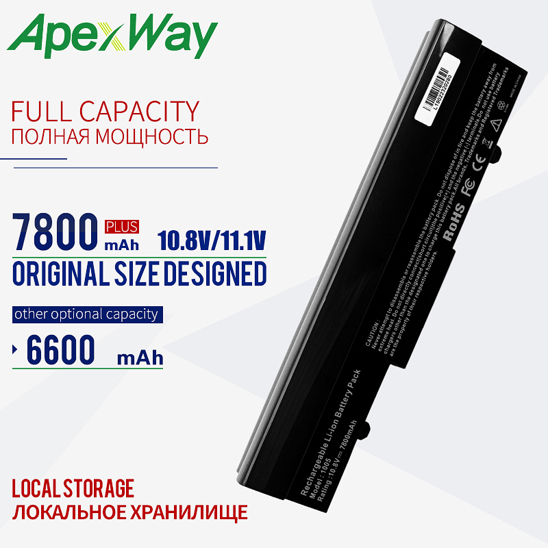 Black  9 Cells 6600mAh Battery For Asus  Eee PC 1001PX 1001HA 1005P 1001PQ 1005 1005HA  AL31-1005 AL32-1005 ML32-1005 PL32-1005