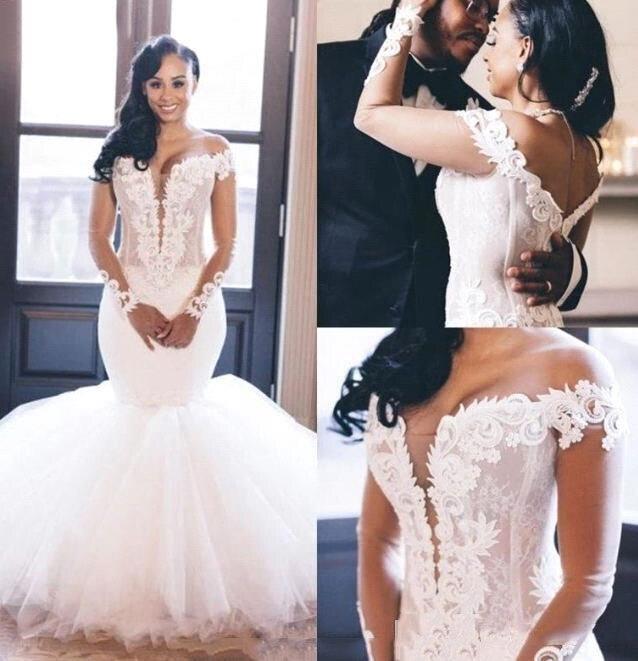 2020 New African Wedding Dresses Mermaid V Neck Off the Shoulder Long Sleeve Ruffles Appliques Bridal Gowns Vestido De Noiva